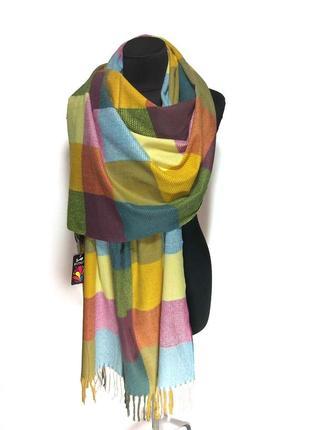 Яркий шерстяной шарф палантин из шерсти розовый голубой желтый горчичный новый