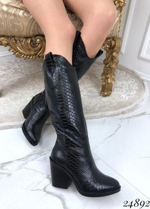 Новые женские кожаные чёрные сапоги казаки под питон