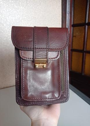 Кожаная винтажная мужская поясная сумка барсетка органайзер. натуральная кожа