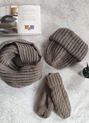 Коиичневий комплект шапка, шарф і рукавички
