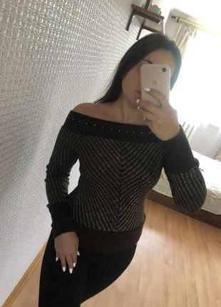 Свитер тёплый с открытыми плечами джемпер кофта пуловер