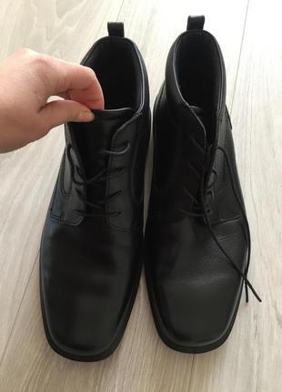 Кожаные тёплые сапоги ботинки ecco