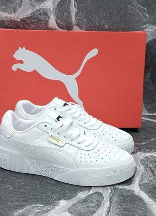 Женские кроссовки puma cali белые.кожаные.осенние