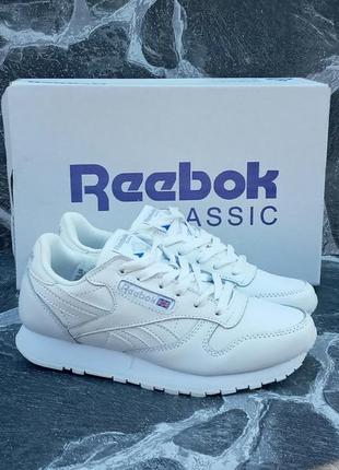 Женские кроссовки reebok classic белые,кожаные,осенние