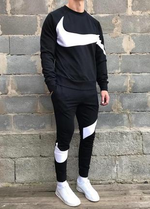 Спортивный костюм на флисе от бренда nike (чёрный)