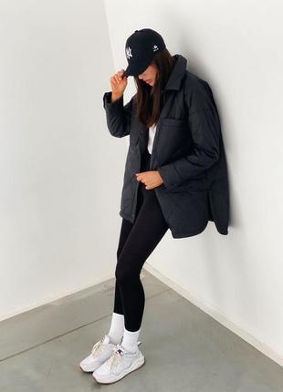 Стёганная куртка -рубашка черная