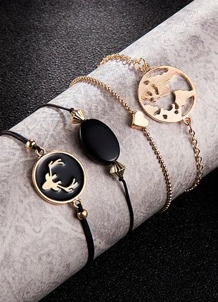 Набор браслетов 4 штуки олень, глобус, сердце / большая распродажа!
