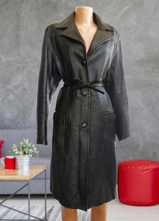 Шикарное черное кожаное пальто / тренч / натуральная кожа ferre milano италия