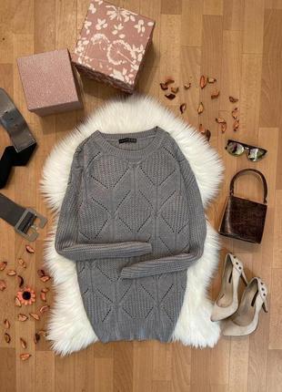 Актуальный удлинённый свитер в узор №201max