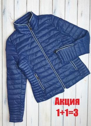 💥1+1=3 стильная синяя стеганная куртка демисезон дутик, размер 44 - 46, италия