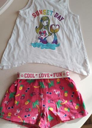 Костюм комплект 2-ка the children's place, 5-6 лет, шорты и майка топ хлопок, русалка