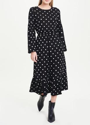 Вискозное черное платье миди в горошек с длинным рукавом