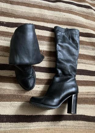 Зимние сапоги на каблуке с мехом 38 кожаные каблук с каблуком