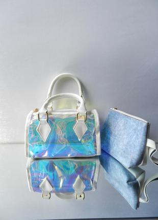 Женский стильный клатч сумка 2b1 прозрачная