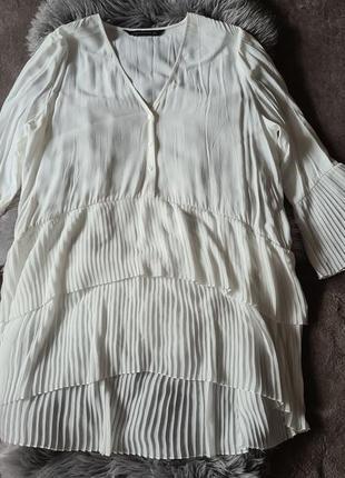 Актуальная белая вискозная блуза плиссе  zara