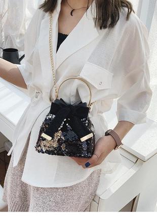 Женская мини сумочка клатч материал: экокожа pu паетки пайетки без цепочки