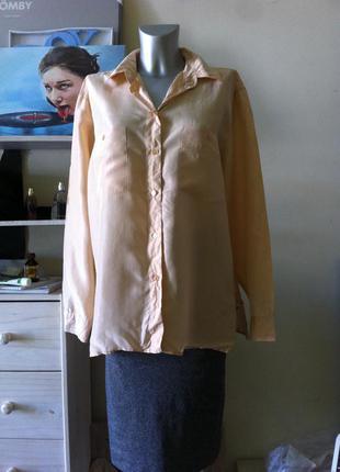 Шелковая оверсайз блуза рубашка 100% шелк абрикосовый цвет 12-14