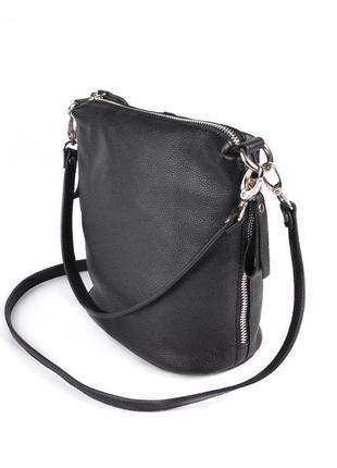 Женская кожаная черная сумка клатч через плечо
