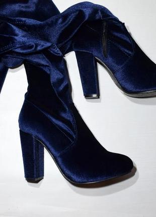Велюрові сині чоботи-чулки