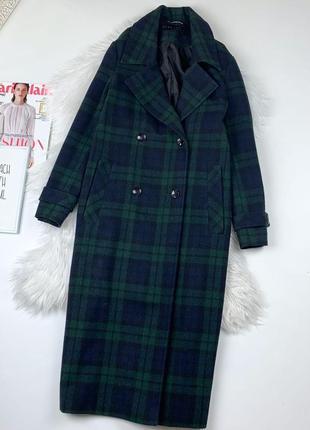 Удлиненное двубортное пальто клетка зелёное  just jamie