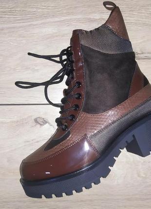 Теплые ботинки 🍁❄️ зима - холодная осень на меху каблук