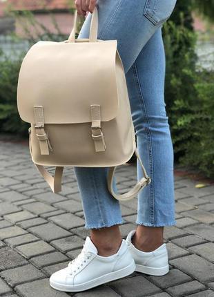 Новый бежевый кожаный рюкзак/сумка