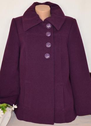 Брендовое фиолетовое демисезонное пальто с карманами klass collection
