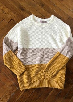 Акция! скидка! свитер джемпер кофта трехцветная пряжа с манжетами светр