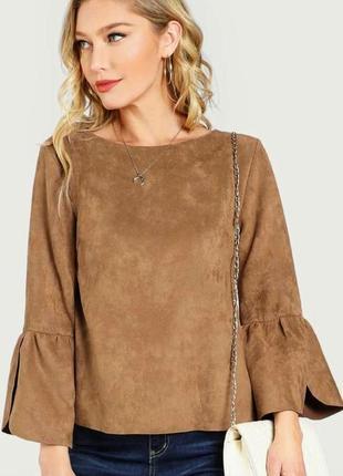 Замшевая плотная кофточка блузка ecup