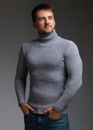 Мужской теплый гольф водолазка серый