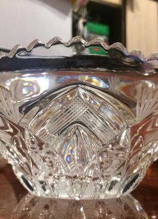 Хрусталь стекло ваза ладья салатник конфетница большой