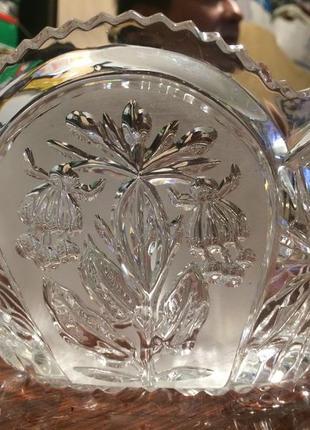 Хрусталь стекло ваза ладья салатник цветы эльфов большой