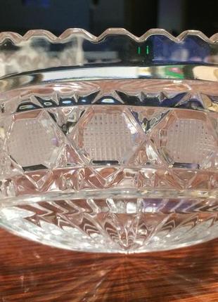 Хрусталь стекло ваза ладья салатник средняя