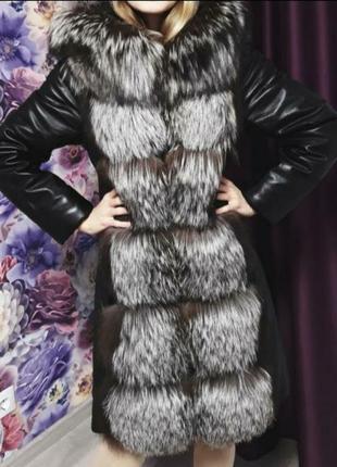 На все 1+1=3 кожаная куртка жилетка с чернобуркой весна осень зима