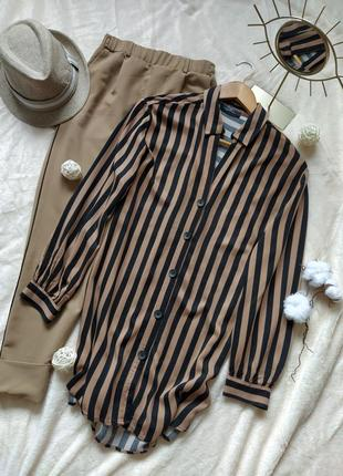 Трендовая рубашка/блуза/накидка в полоску от bershka