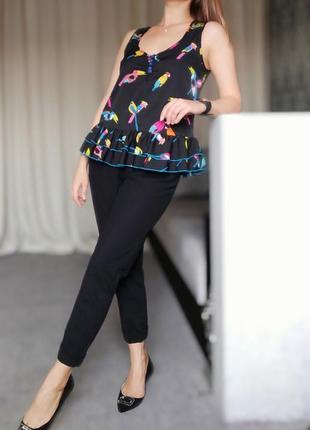 Майка блуза женская с рюшами принт птички