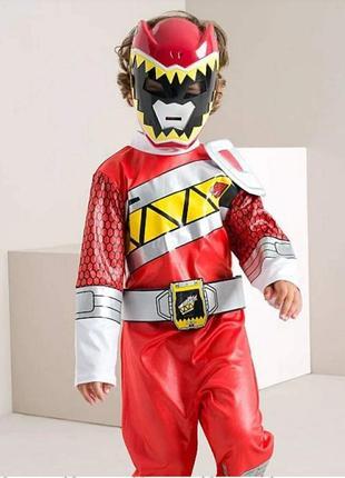 Карнавальный костюм супергерой с маской от george на 3-4 года, могучие рейнджеры