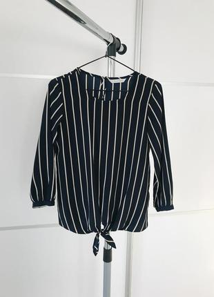 Темно синяя блуза блузка полосатая блуза легкая женская блузочка