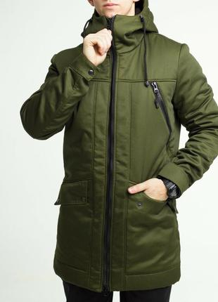 Куртка парка пальто зимняя ❄️ тёплая хаки тур / 50-52рр