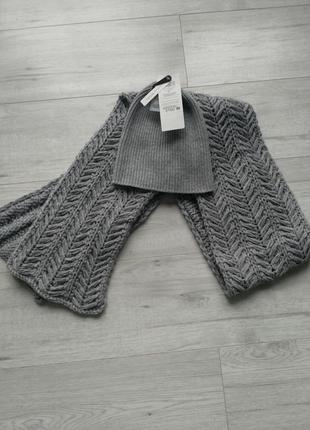 Шапка бини и шарф шерсть