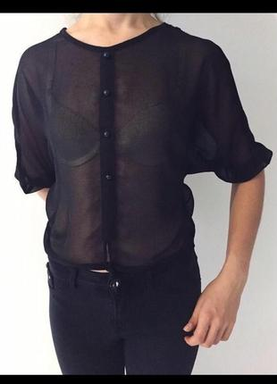 Чорна блуза, черная блуза, блузка женская.