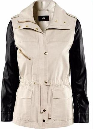 Куртка h&m демисезонная курточка ветровка олимпийка с кожаными рукавами пиджак жакет