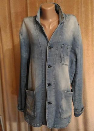 Стильный пиджак кардиган premium denim унисекс, высокий рост размер xxl