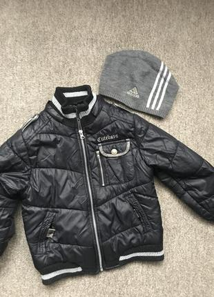 Куртка + шапка, деми- теплая зима. 110-116р