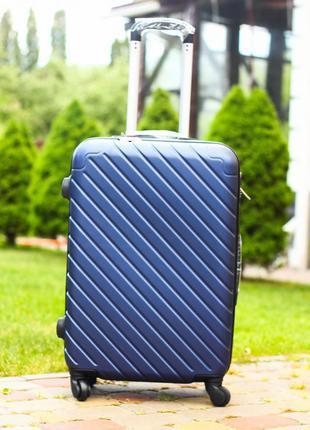 Чемодан средний пластиковый валіза середня сумка на колесах синий