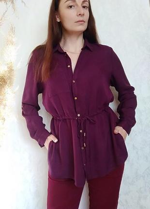 Насичена фіолетова подовжена блуза на ґудзиках і пояс по талії marks & spencer