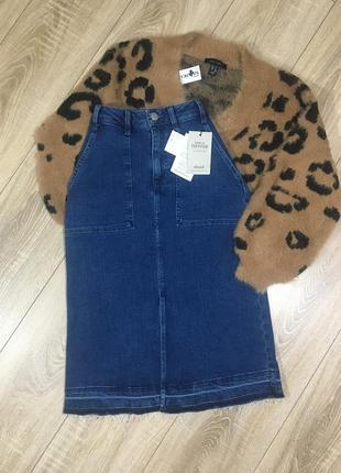 Бомбезная джинсовая юбка карандаш с разрезом спереди от denim co