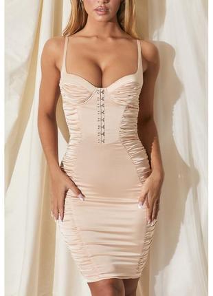 Атласное платье с имитацией крючков. атласна сукня з крючками oh polly
