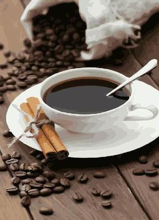 Картина по номерам кофе и палочки корицы