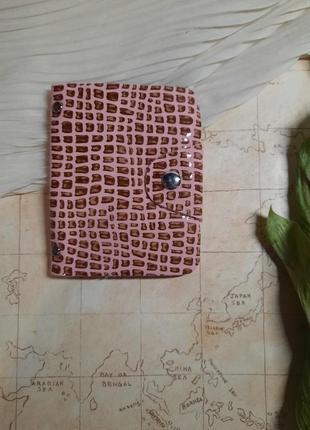 Картхолдер визитница кожаная на  24 карты пудра